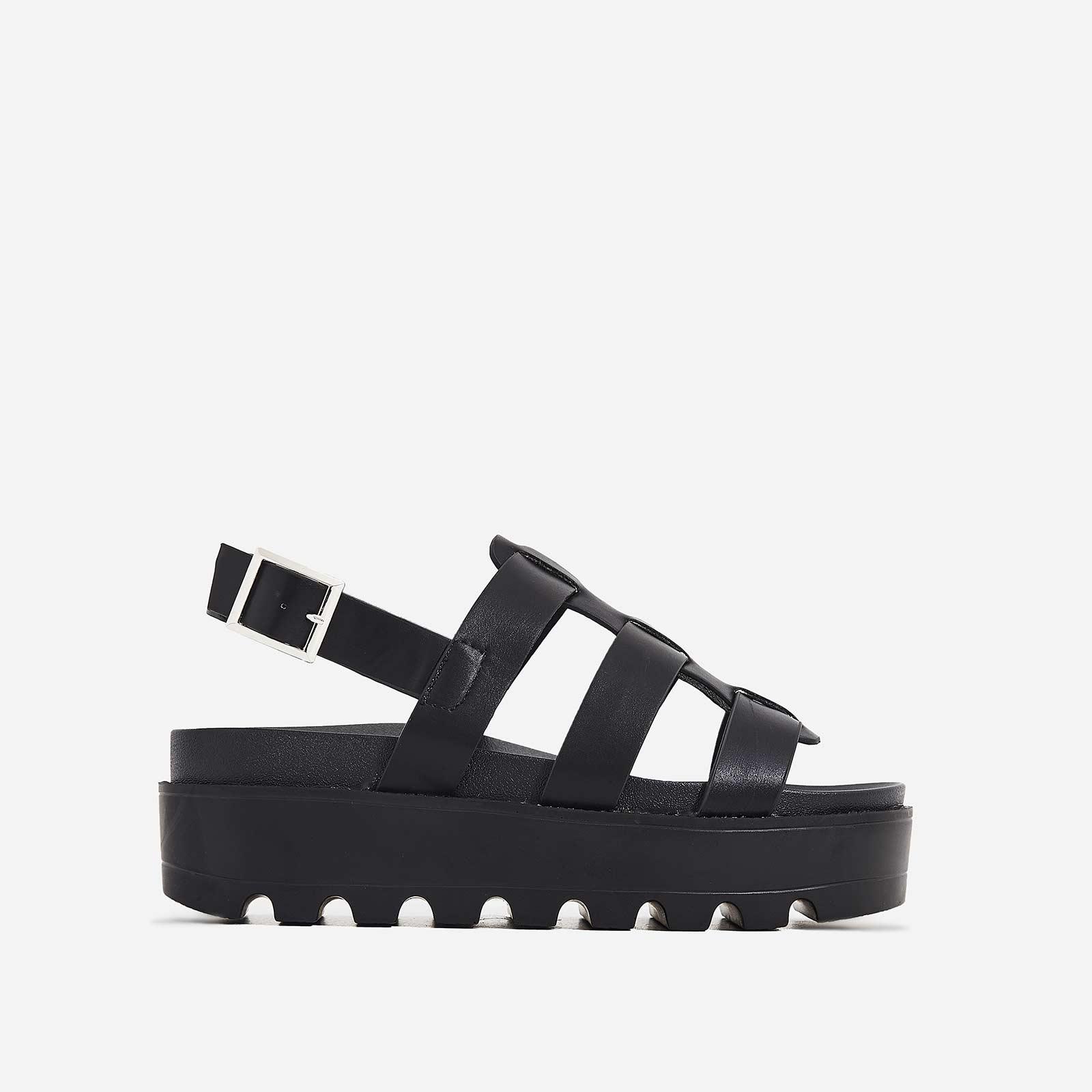 Zander Chunky Sole Sandal In Black Faux Leather