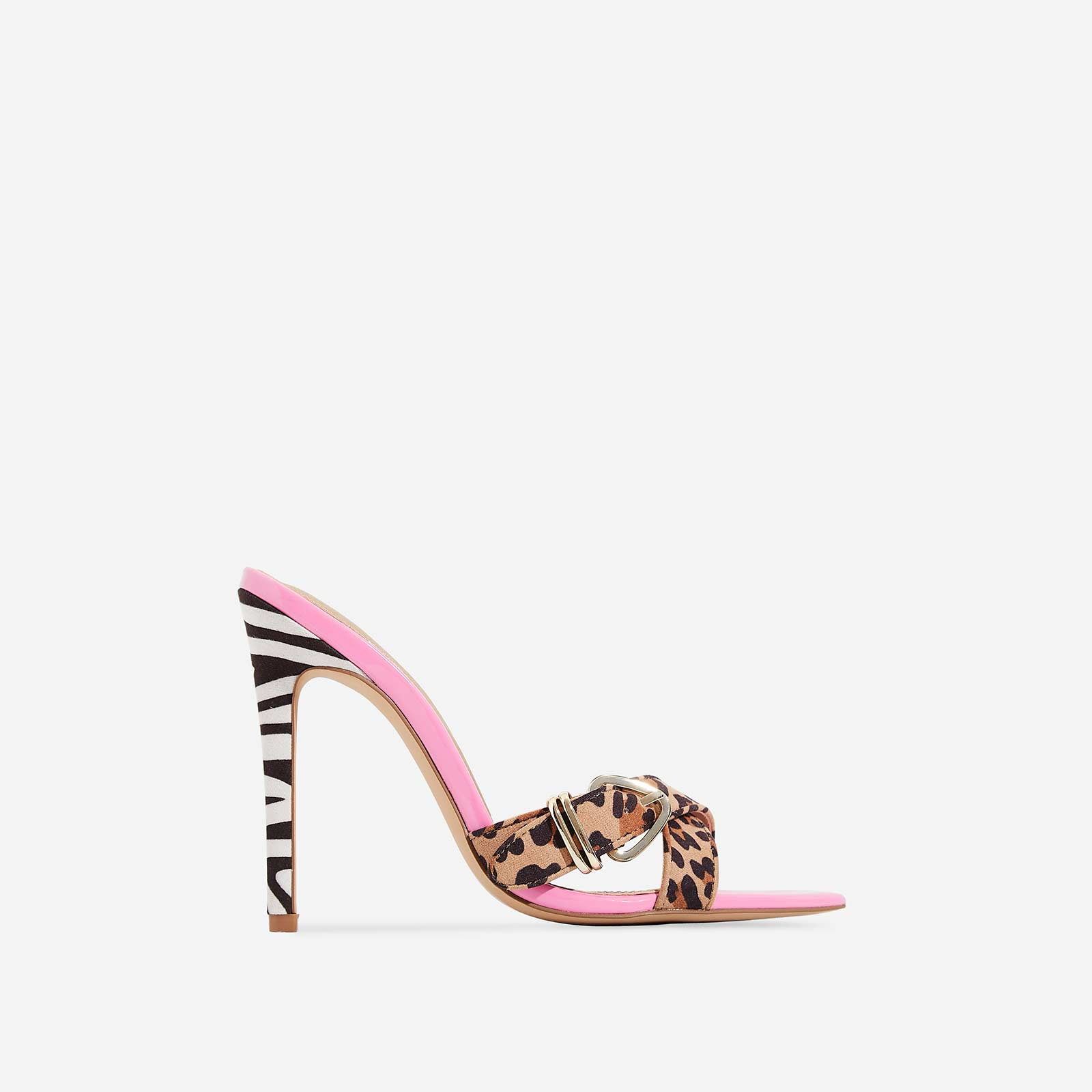 Zane Animal Print Cross Over Mule In Pink Patent
