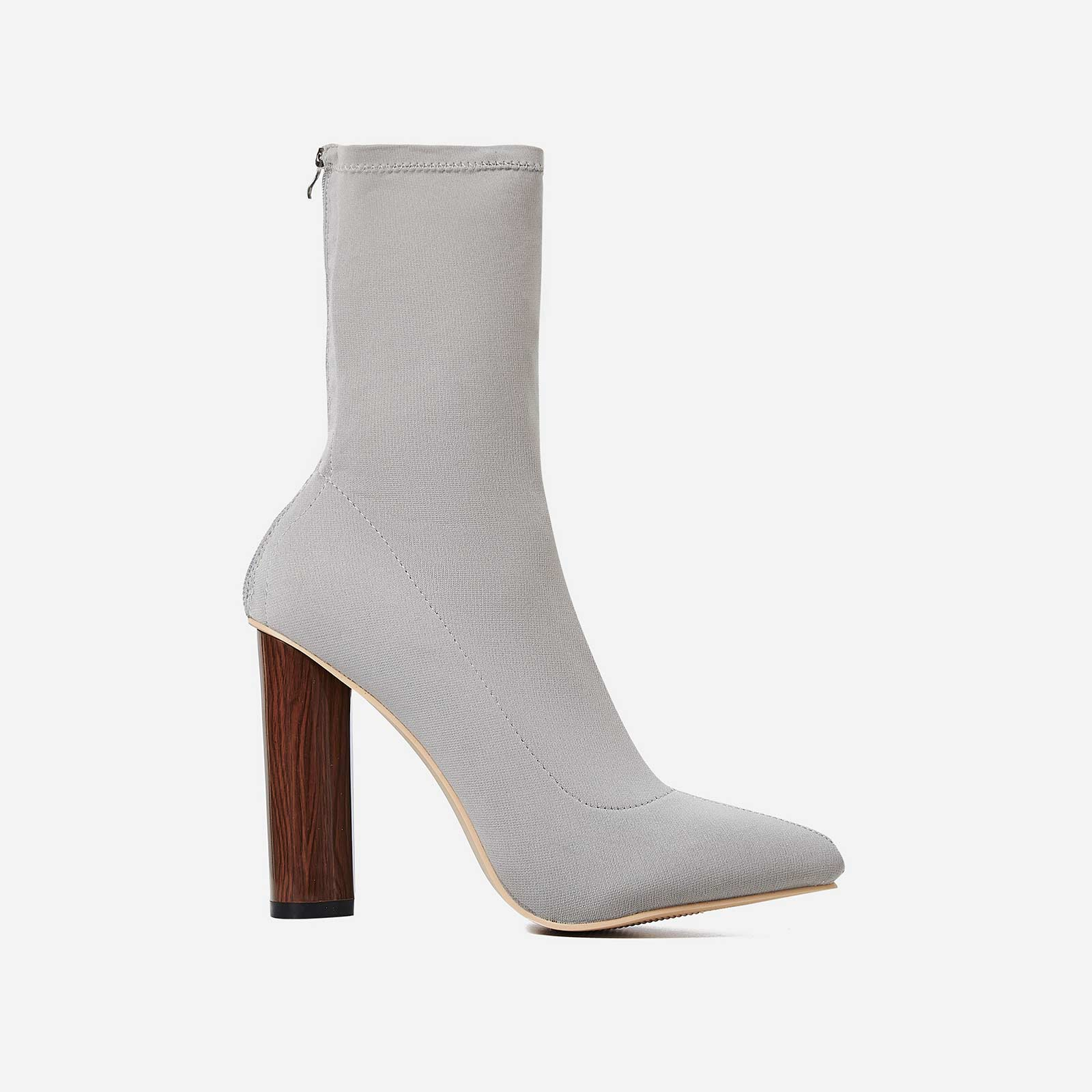 Zina Grey High Ankle Boot In Lycra