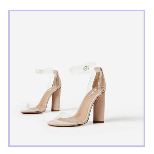 9d95e79272 Go nude for prom, well not literally. These shoes scream 'less is more'  with a clear perspex strap and block heel. These are perfect if you're  wanting to go ...